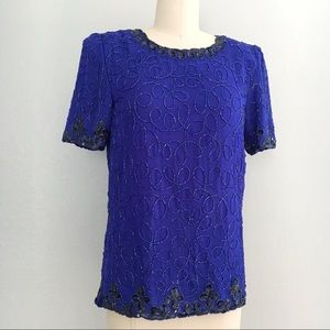 Vintage beaded cobalt blue top